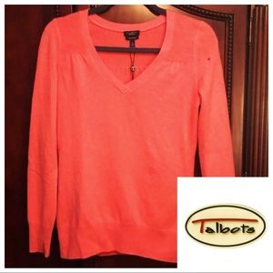 NWT Small Coral Talbots Cashmere Sweater, Flaw